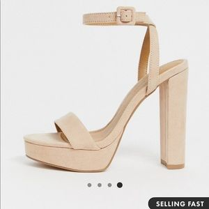Asos design beige heeled sandal worn once !!!